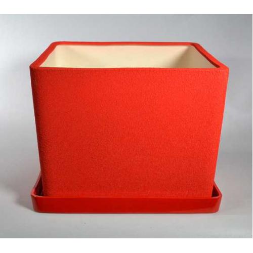 Керамический горшок Квадрат №2 шелк красный 5л, d21,5см, h17см