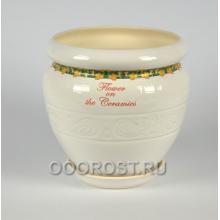 Горшок Амфора белый, золотая лоза 7.5л, d24 см