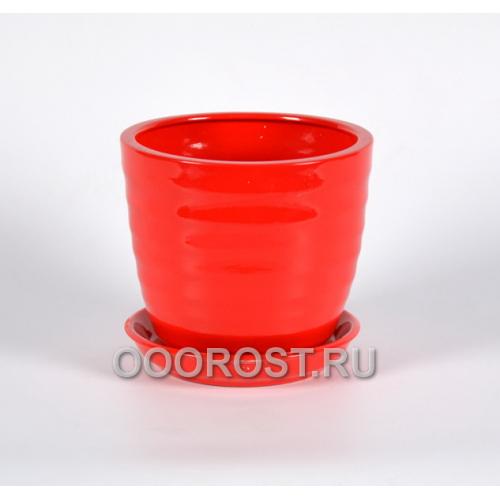 Горшок Обруч №3 2,1л (глянец красный) d18 см, h 16см