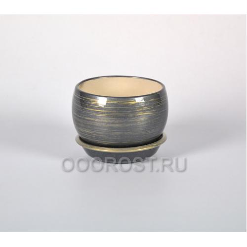 Горшок Шар №3 (глянец графит-золото) 0,4л  d11см