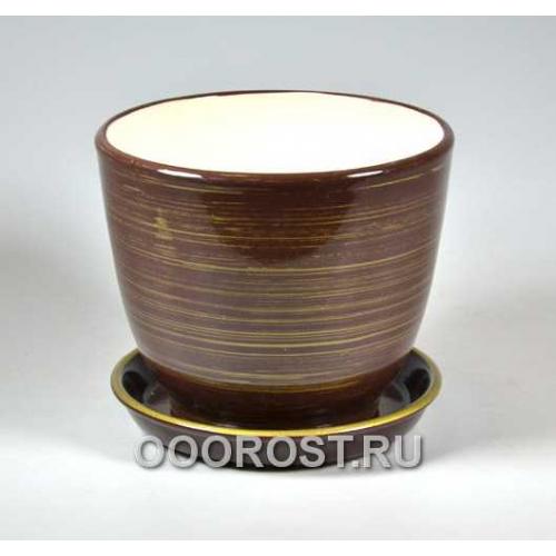 Горшок Кедр №3 (глянец Шоколад-Золото) 1,6л d15см
