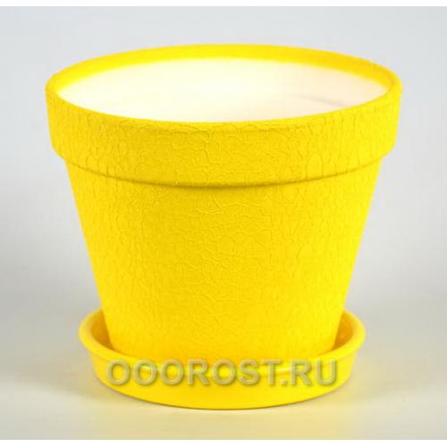 Керамический горшок Конус 1,7л кожа желтый d17см, h14см