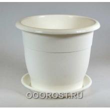 Горшок Лотос d16см 1,4л белый с поддоном